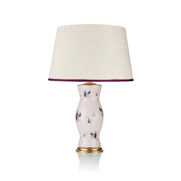 STRETCHED LINEN LAMPSHADE WITH RIBBED BLUSH TRIM