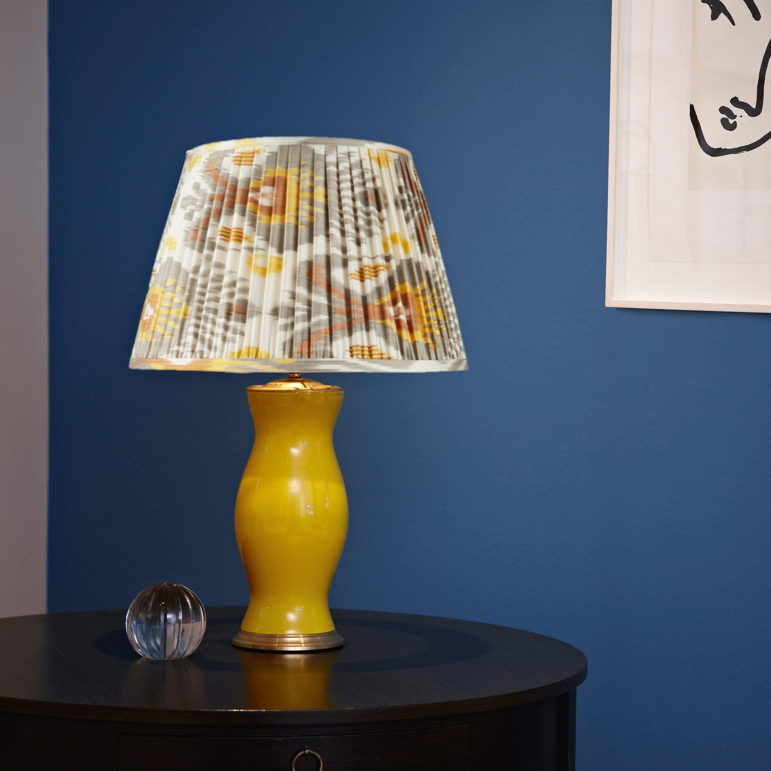 "GREY AND YELLOW SILK IKAT LAMPSHADES (one 1 left in 20"")"