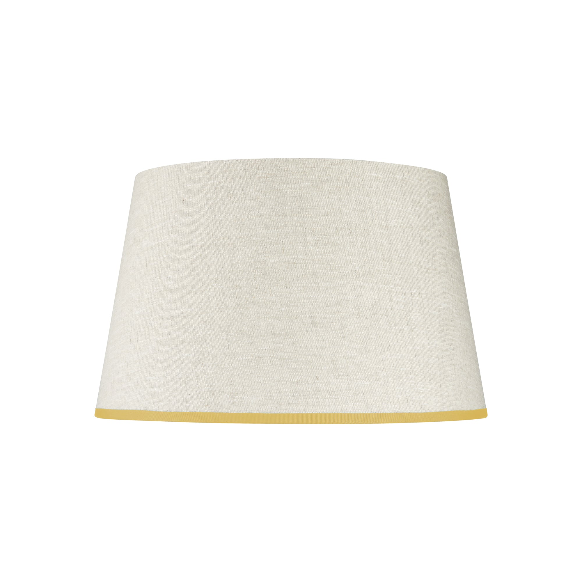 STRETCHED LINEN LAMPSHADE WITH SUNNY SIDE UP TRIM