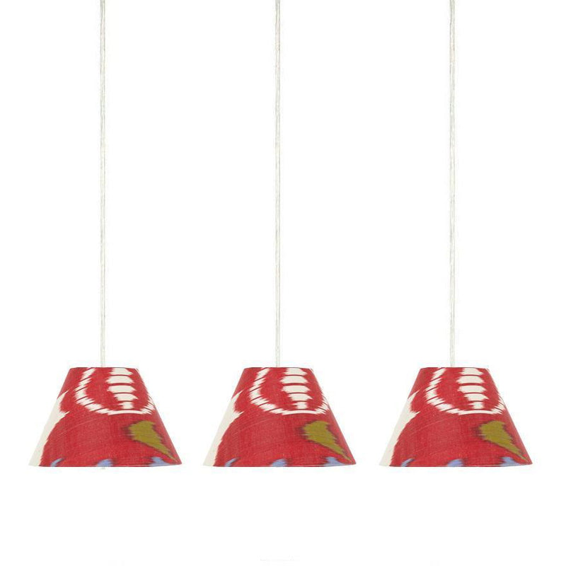 SMALL PENDANT RED AND BLUE IKAT LAMPSHADE - ONLY 1 LEFT