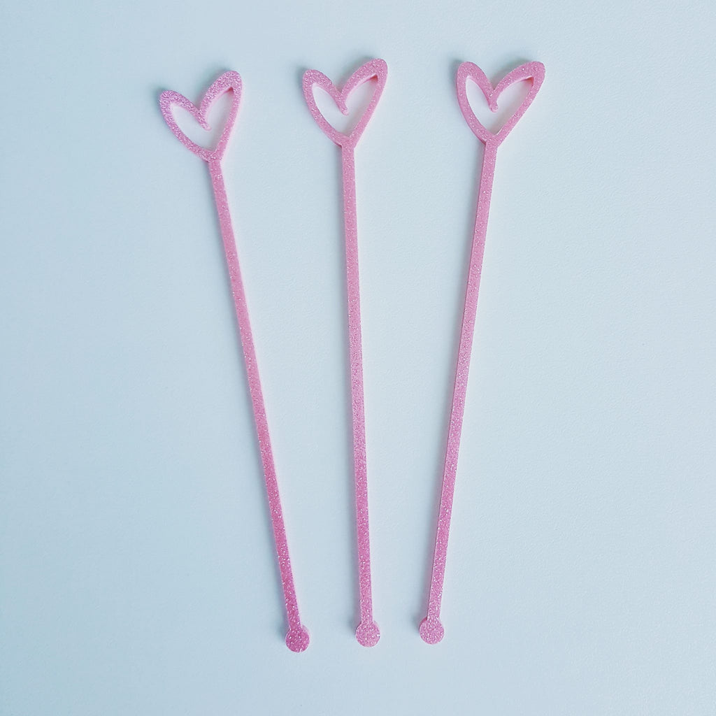 Acrylic Stirrers, Open Heart (Various Colours)