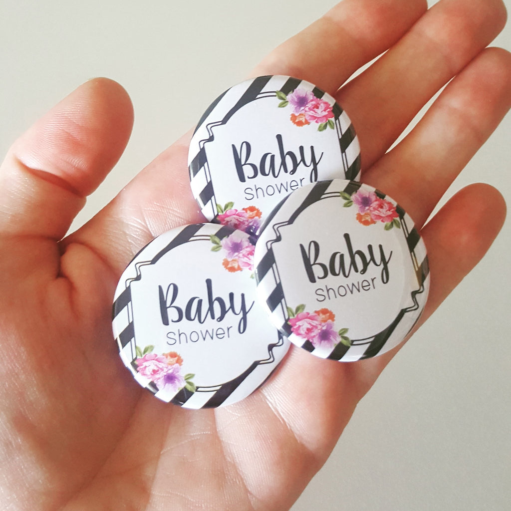 Baby Shower Badges - Stylish Stripes