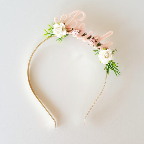 Headband - Bride - Blush Pink/White/Green