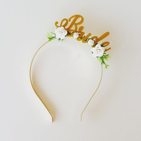 Headband - Bride - Gold/White/Pink/Green