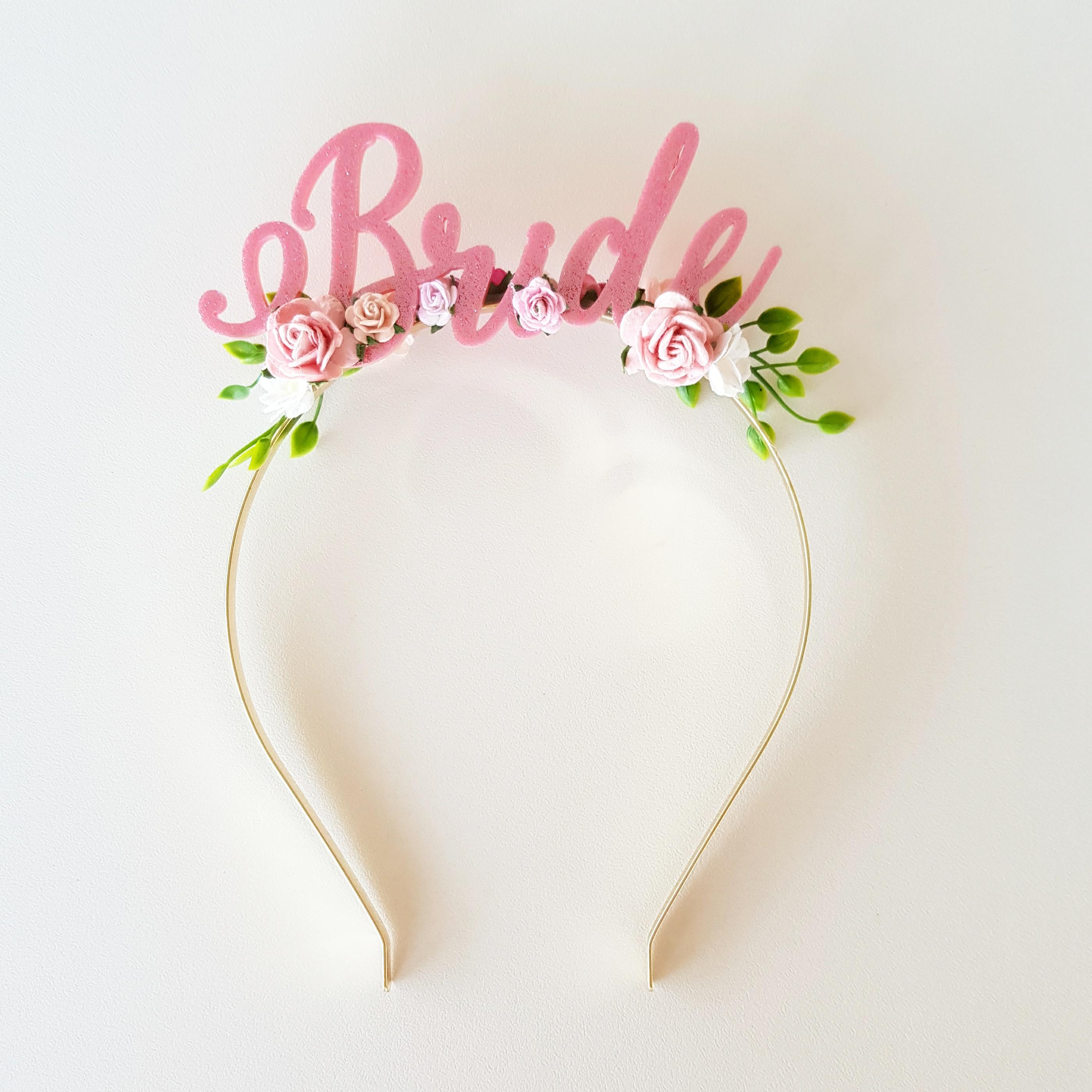 Headband - Bride - Pink White Green – Whimsy Chuffed Pty Ltd 75d2f207eaa