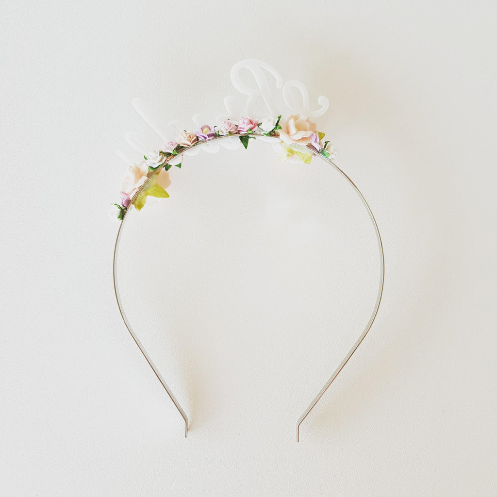 Headband - Bride - Silver/White/Pink