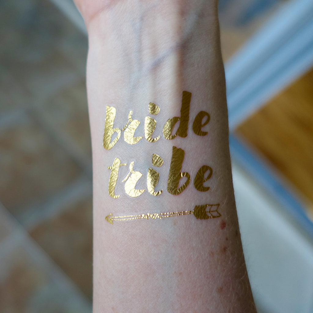 Temporary Tattoo, Gold Foil - Bride Tribe (Arrow)