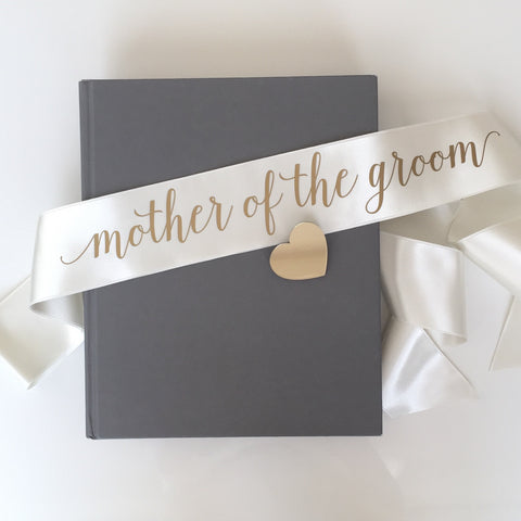 Sash - Mother of the Groom - Ivory/Gold