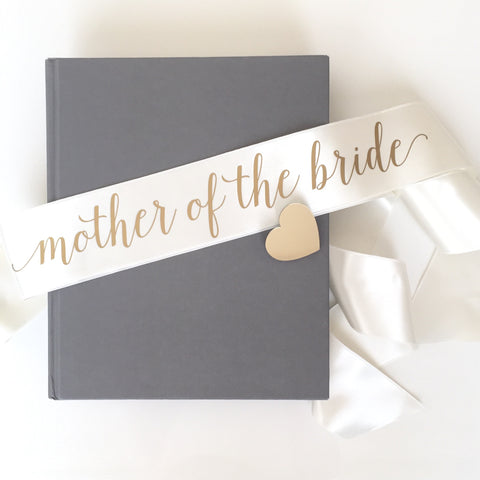 Sash - Mother of the Bride - Ivory/Gold