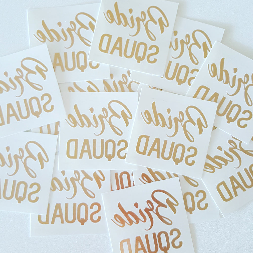 Temporary Tattoo, Gold Foil - Bride Squad