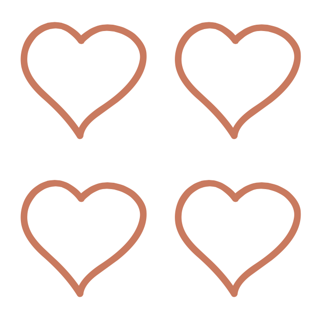 Temporary Tattoo, Rose Gold Foil - Four Hearts