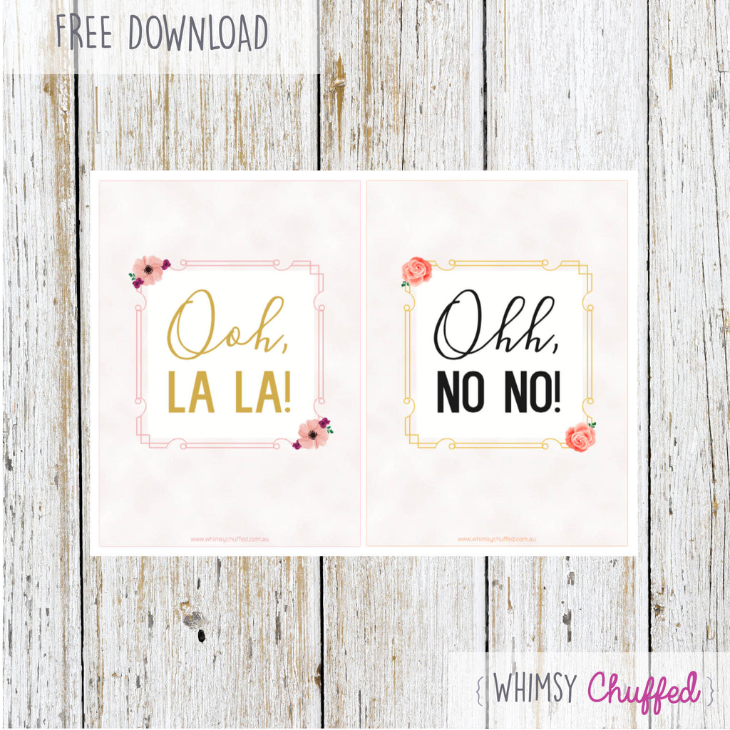 Freebie: Dress Shopping - Ooh La La & Ohh No No Printable