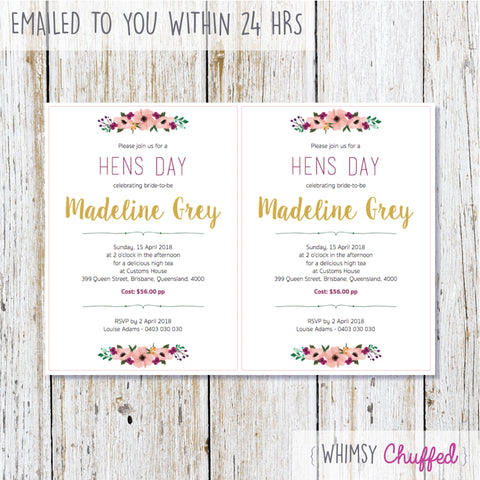 Hens Party Printables, Various - Classy Gold Suite