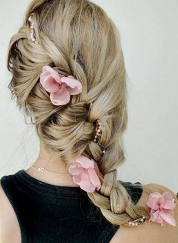 braid with pearls and flowers