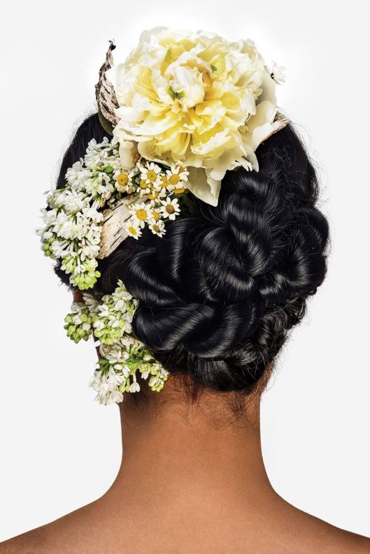 Peonies in a Twisted Chignon