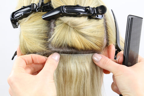 installing skin weft hair extensions