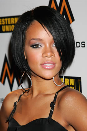 rihanna short hair bangs
