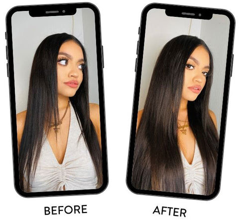 before after clip-in hair extensions