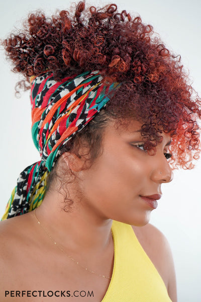 curly hairstyle with headscarf