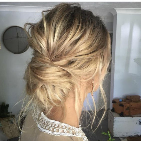 messy updo braid