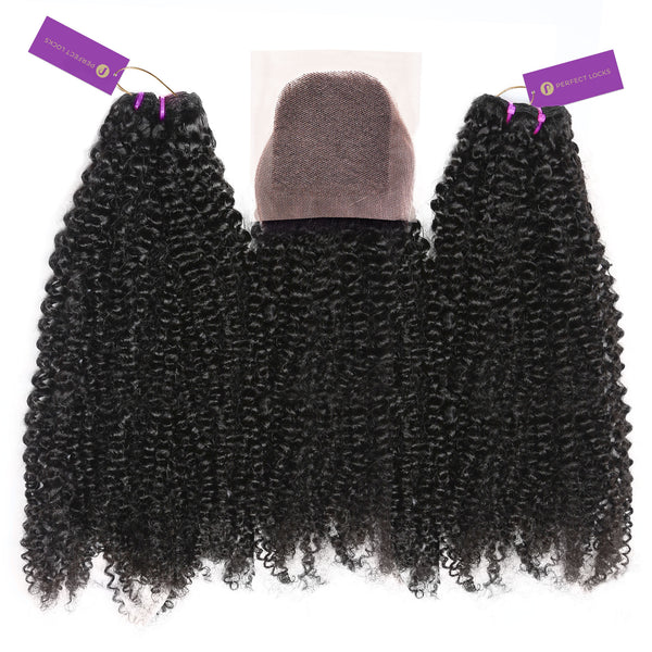2 x Kinky Curly Steam Permed Weave Bundle Deal + Closure