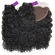 2 x Curly Virgin Weave Bundle + Frontal Deal