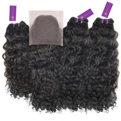 3 x Curly Virgin Weave Bundle + Closure Deal