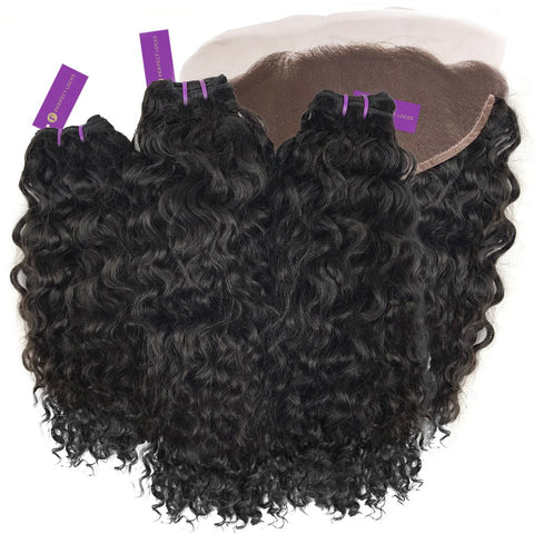 3 x Curly Virgin Weave Bundle + Frontal Deal