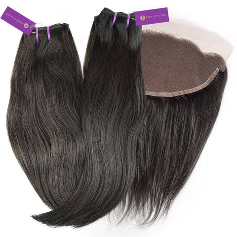 2 x Straight Virgin Weave Bundle + Frontal Deal | Perfect Locks