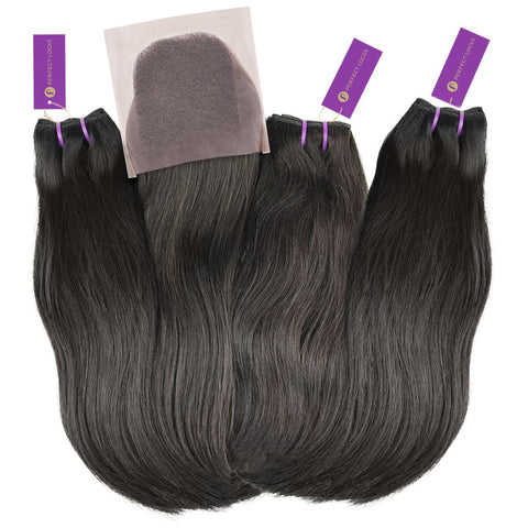 3 x Straight Virgin Weave Bundle + Closure Deal | Perfect Locks