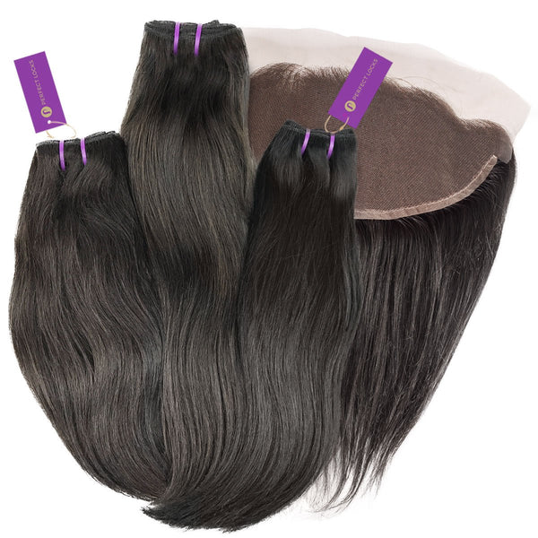 3 x Straight Virgin Weave Bundle + Frontal Deal