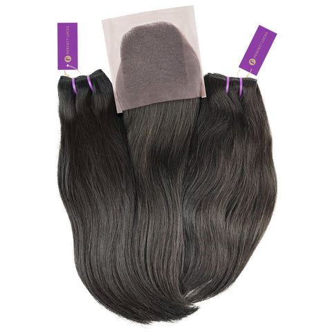 2 x Straight Virgin Weave Bundle + Closure Deal