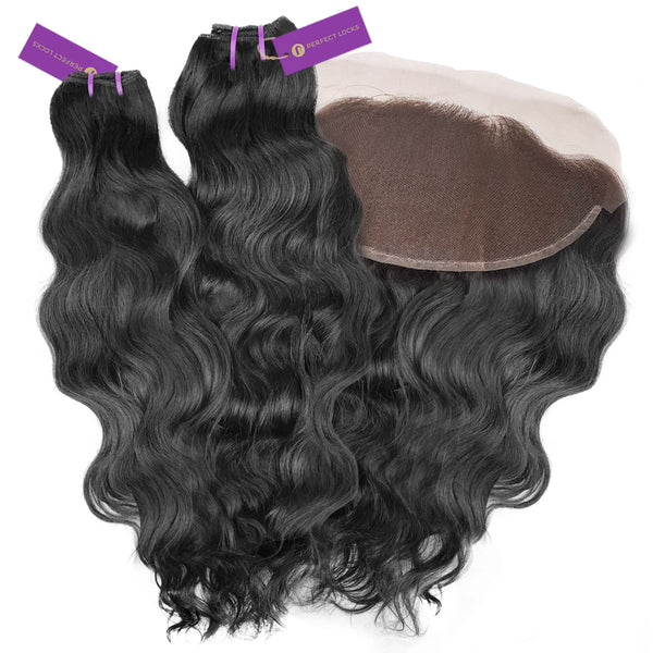 2 x Wavy Virgin Weave Bundle + Frontal Deal