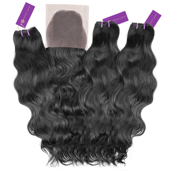 3 x Wavy Virgin Weave Bundle + Closure Deal