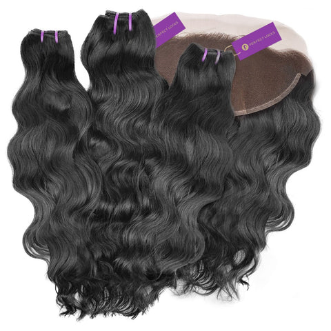 3 x Wavy Virgin Weave Bundle + Frontal Deal