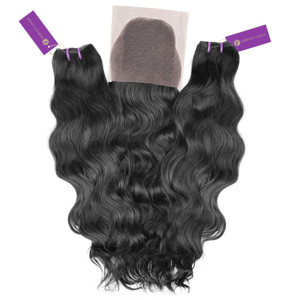 2 x Wavy Virgin Weave Bundle + Closure Deal