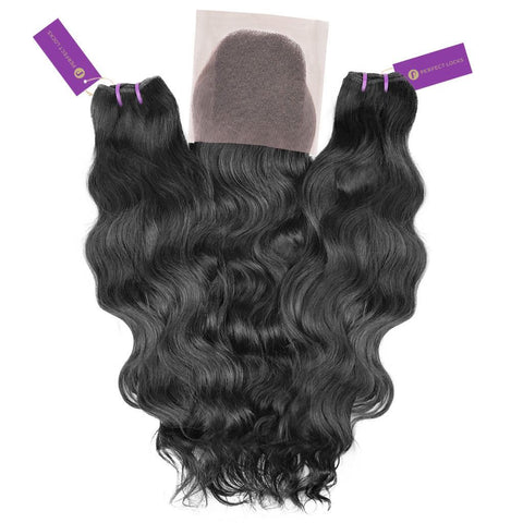 2 x Wavy Virgin Weave Bundle + Closure Deal | Perfect Locks
