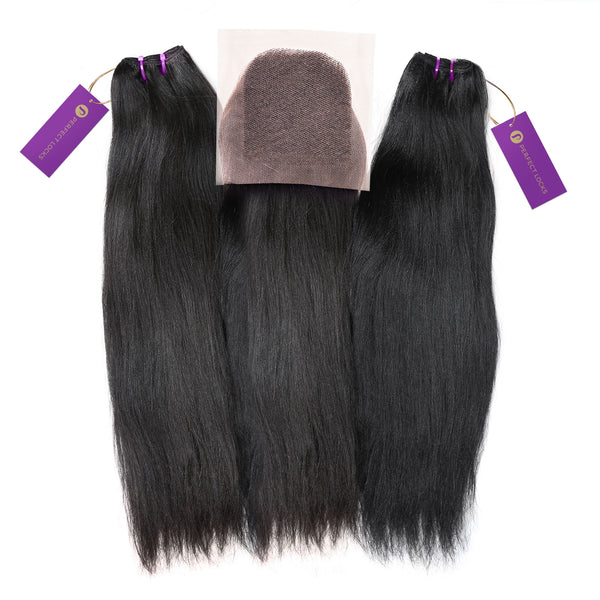 2 x Relaxed Straight Steam Permed Weave Bundle Deal + Closure
