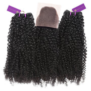 2 x Tight Curly Steam Permed Bundle Deal + Closure