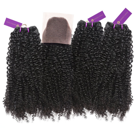 3 x Tight Curly Steam Permed Bundle Deal + Closure