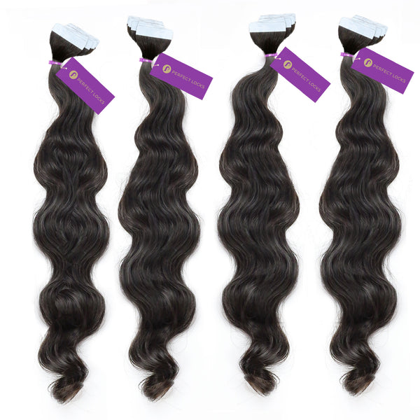 4 X Wavy Tape In Hair Extension Bundle Deal Perfect Locks