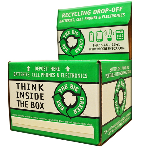 A battery recycling box, also takes mobile phone and other defunct gadgets