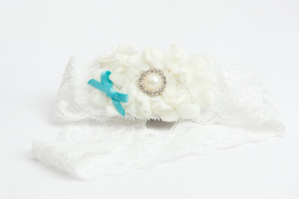 Small Blue Bow Lace Couture Garter