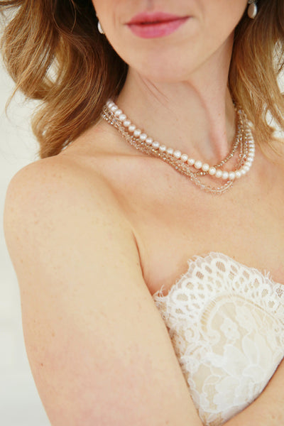 I217 Triple Strand Necklace (soft nude)