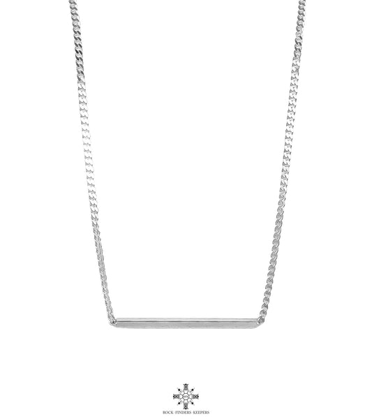 Cayge Polished Bar Necklace | Silver