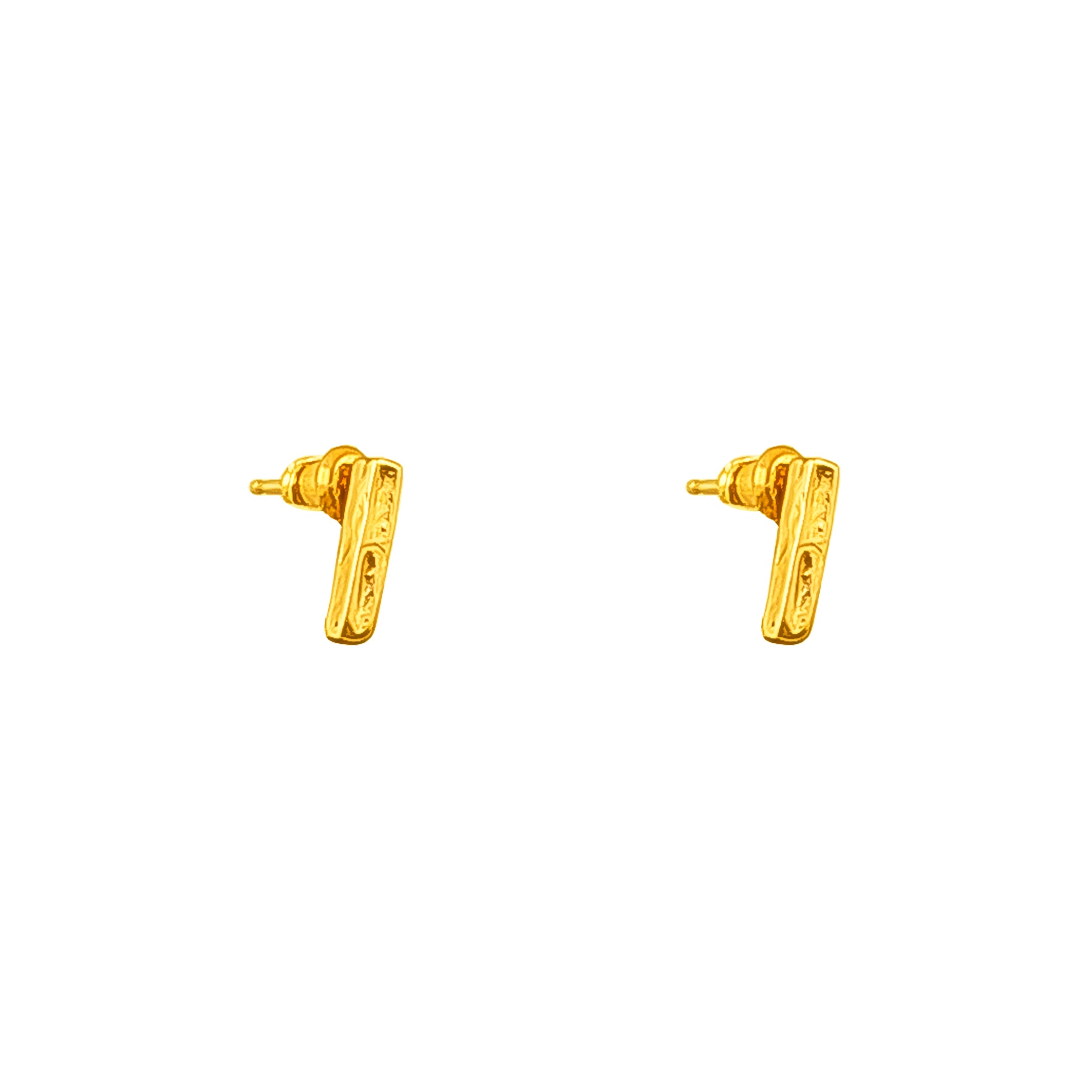 Alexa Fine Hammered Bar Stud Earrings With Chain Detail | Gold