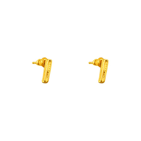 Alexa Fine Hammered Bar Stud Earrings | Gold