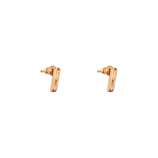 Alexa Fine Hammered Bar Stud Earrings With Chain Detail | Rose