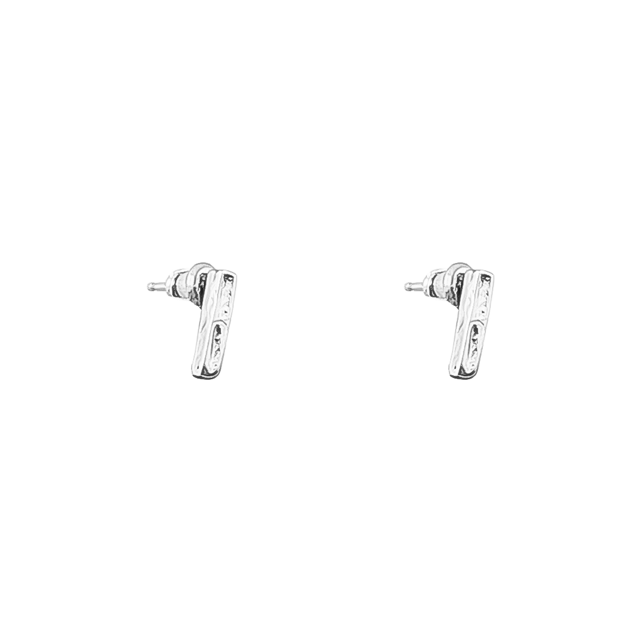Alexa Fine Hammered Bar Stud Earrings With Chain Detail | Silver