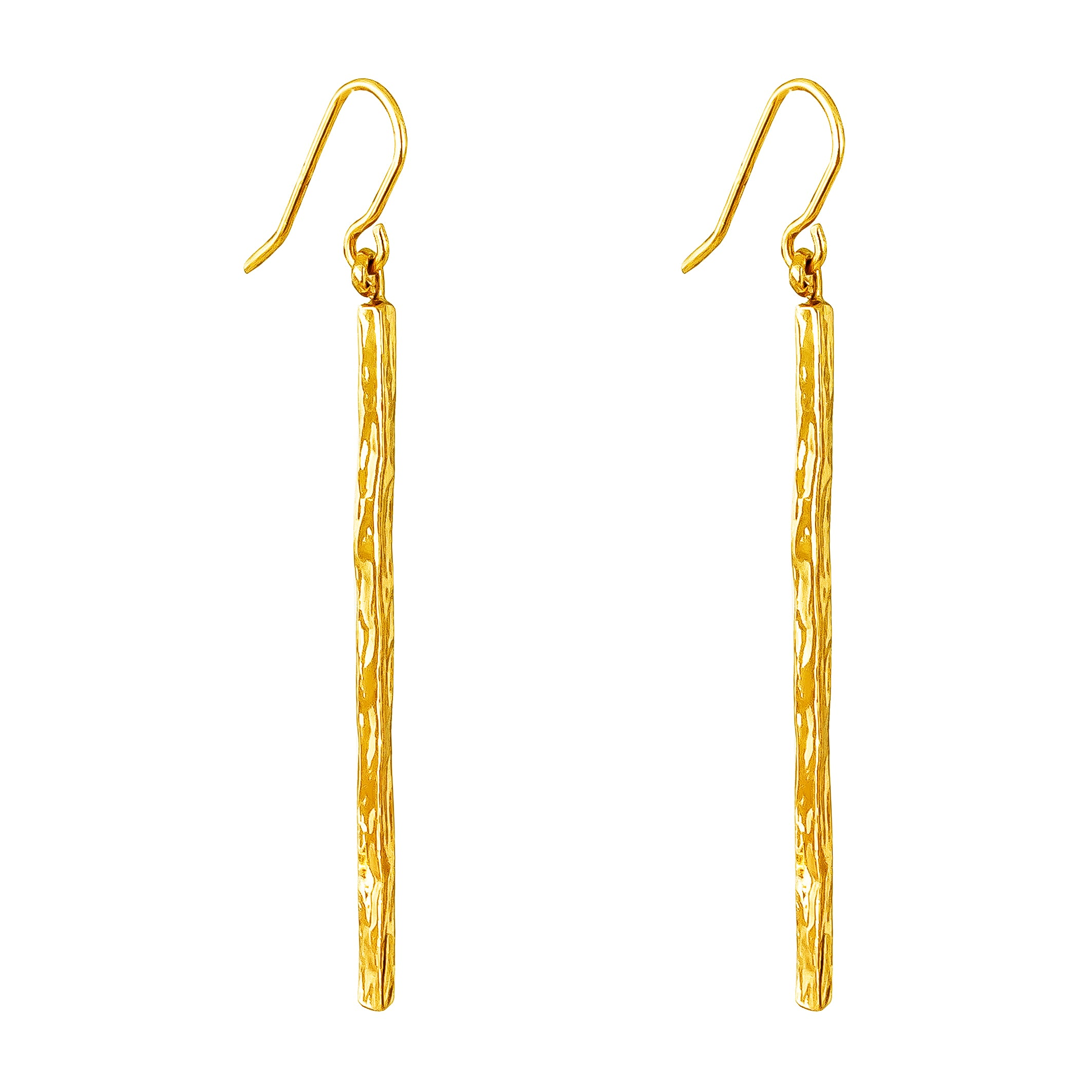 Alexa Hammered Bar Earrings | Gold